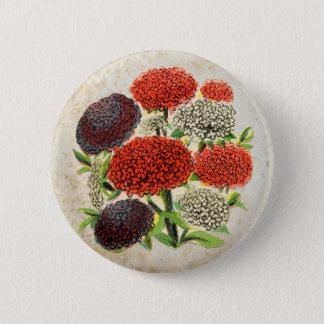 Antique Red Flower Bouquet Button
