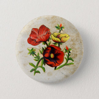 Antique Red Flowers Button