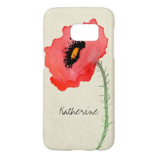 Antique Red Poppy Flower Watercolor Poppies Floral Samsung Galaxy S7 Case