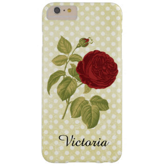 Antique Red Rose Parchment Polka Dots Barely There iPhone 6 Plus Case