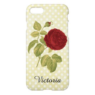 Antique Red Rose Parchment Polka Dots iPhone 7 Case