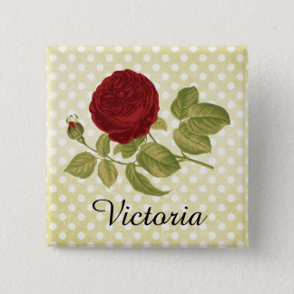 Antique Red Rose Parchment Polka Dots Personalized Button