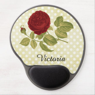 Antique Red Rose Parchment Polka Dots Personalized Gel Mouse Pad