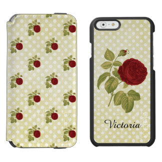 Antique Red Rose Parchment Polka Dots Personalized iPhone 6/6s Wallet Case