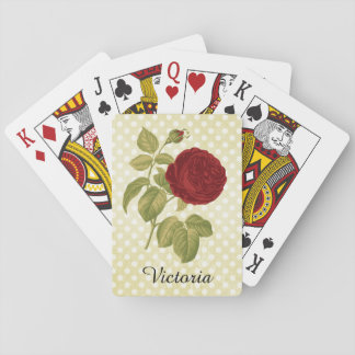 Antique Red Rose Parchment Polka Dots Personalized Card Deck