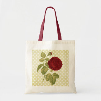 Antique Red Rose Parchment Polka Dots Tote Bag