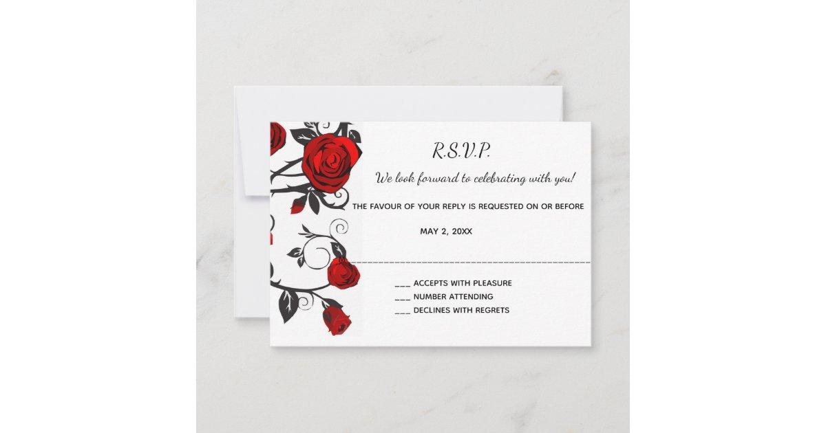 Antique Red Rose Vine Rsvp Cards Zazzle Com