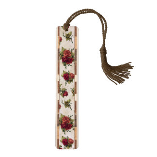 Antique Red Rose Wallpaper Walnut Bookmark