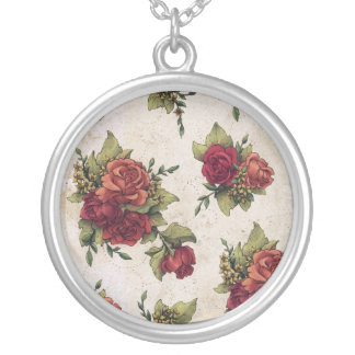 Antique Red Rose Wallpaper Personalized Necklace