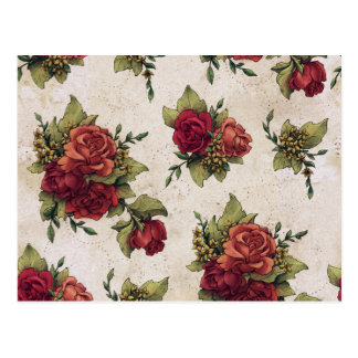 Antique Red Rose Wallpaper Postcard