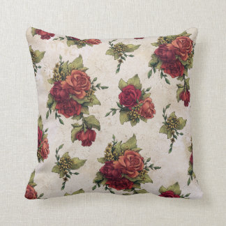 Antique Red Rose Wallpaper Throw Pillow