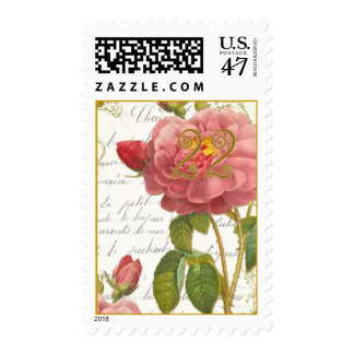 Antique Red Roses Postage Stamps