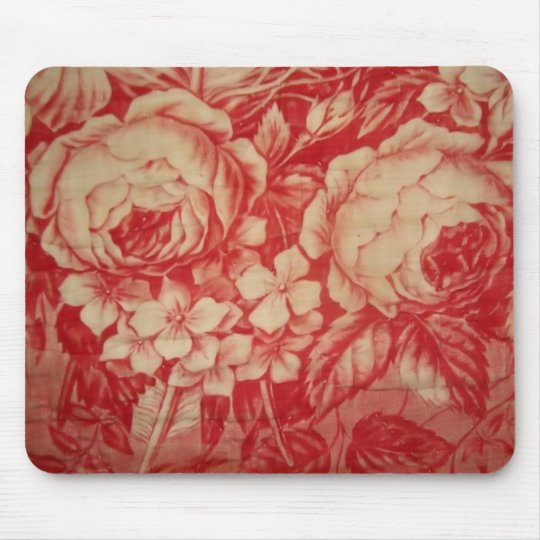 Antique Red Toile Mouse Pad