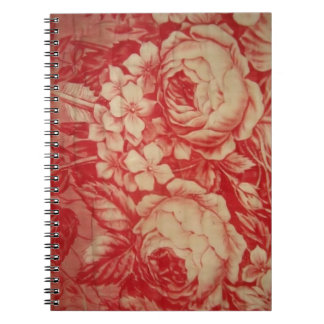 Antique Red Toile Spiral Notebook
