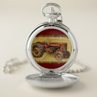Antique Red Tractor Pocket Watch