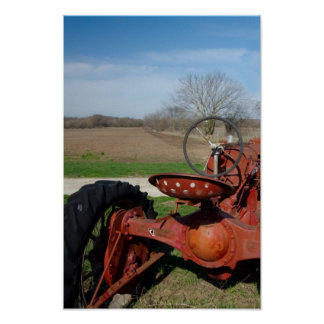 Antique Red Tractor Poster Print