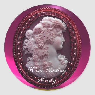 ANTIQUE RED WINE LADY ,GRAPES AND GRAPEVINES CLASSIC ROUND STICKER