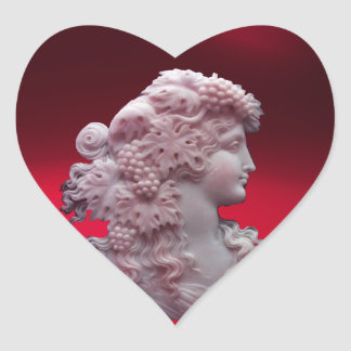 ANTIQUE RED WINE LADY ,GRAPES AND GRAPEVINES Heart Heart Sticker