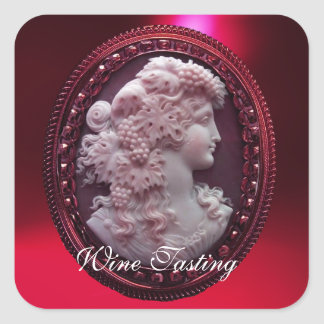 ANTIQUE RED WINE LADY ,GRAPES AND GRAPEVINES SQUARE STICKER