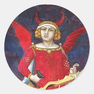 ANTIQUE RENAISSANCE TAROT /THE DEVIL Pride Detail Classic Round Sticker