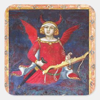 ANTIQUE RENAISSANCE TAROT /THE DEVIL Pride Detail Square Sticker