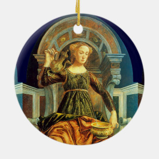 ANTIQUE RENAISSANCE TAROTS 14 / TEMPERANCE Double-Sided CERAMIC ROUND CHRISTMAS ORNAMENT