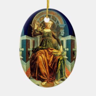 ANTIQUE RENAISSANCE TAROTS 14 / TEMPERANCE Double-Sided OVAL CERAMIC CHRISTMAS ORNAMENT