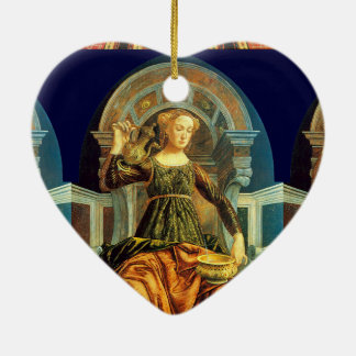 ANTIQUE RENAISSANCE TAROTS 14 / TEMPERANCE Heart Double-Sided Heart Ceramic Christmas Ornament