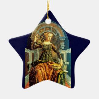 ANTIQUE RENAISSANCE TAROTS 14 / TEMPERANCE Star Double-Sided Star Ceramic Christmas Ornament