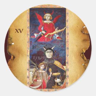 ANTIQUE RENAISSANCE TAROTS 15 / THE DEVIL CLASSIC ROUND STICKER