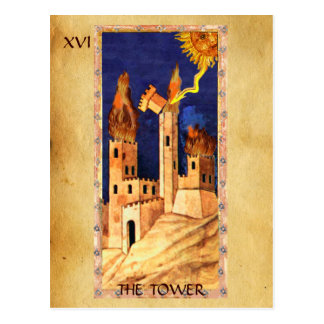 ANTIQUE RENAISSANCE TAROTS 16 THE TOWER POST CARDS
