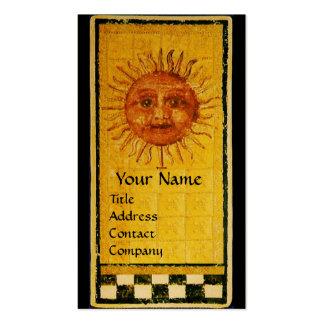 ANTIQUE RENAISSANCE TAROTS 19 /THE SUN Gold Metal Business Card