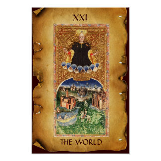 ANTIQUE RENAISSANCE TAROTS 21  / THE WORLD PRINT