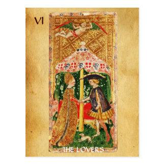 ANTIQUE RENAISSANCE TAROTS 6 / THE LOVERS POSTCARD
