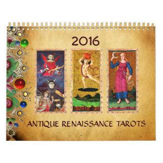 ANTIQUE RENAISSANCE TAROTS FLORAL PARCHMENT 2016 CALENDAR