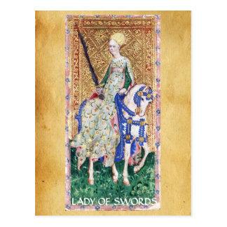 ANTIQUE RENAISSANCE TAROTS / LADY OF SWORDS POSTCARD