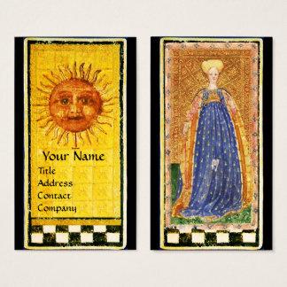ANTIQUE RENAISSANCE TAROTS /SUN AND MAID OF WANDS BUSINESS CARD