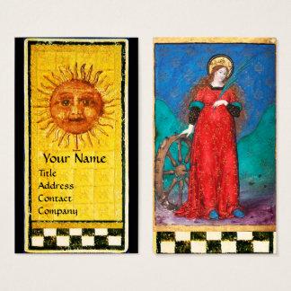 ANTIQUE RENAISSANCE TAROTS/ SUN & WHEEL OF FORTUNE BUSINESS CARD