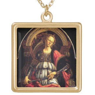 ANTIQUE RENAISSANCE TAROTS THE FORTITUDE- STRENGHT GOLD PLATED NECKLACE