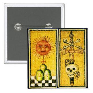 ANTIQUE RENAISSANCE TAROTS / THE SUN AND DEATH PINBACK BUTTON