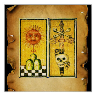 ANTIQUE RENAISSANCE TAROTS /THE SUN AND DEATH POSTER