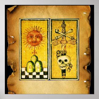 ANTIQUE RENAISSANCE TAROTS /THE SUN AND DEATH POSTER