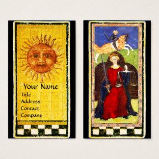 ANTIQUE RENAISSANCE TAROTS / THE SUN AND JUSTICE BUSINESS CARD