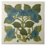 """Antique Repro Art Nouveau Blue Flowers Tile<br><div class=""""desc"""">This beautiful tile is a copy of an art nouveau tube lined tile in our collection. Gorgeous period colors of a teal-ish blue and greens on off-white. The Art Nouveau style began in the last decade of the 19th century and lasted until WWI. Art Nouveau is, in many ways, an...</div>"""