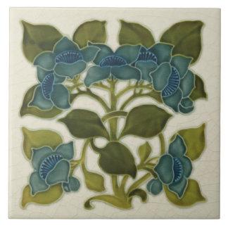 Antique Repro Art Nouveau Blue Flowers Tile
