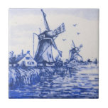 """Antique Repro Blue Delft Dutch Windmill Tile<br><div class=""""desc"""">Delft tiles date back to the seventeenth century when blue and white Chinese porcelain imports reached the Netherlands. The popularity of these items was a great influence on Dutch tile artisans and Delft became the center of production for these usually (but not always) blue and white tiles.</div>"""