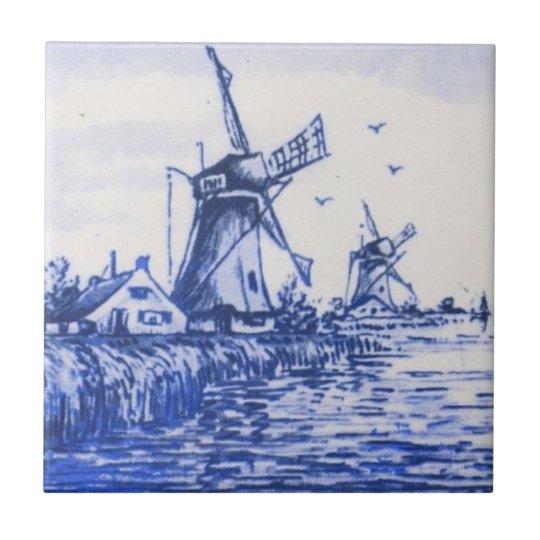 Antique Repro Blue Delft Dutch Windmill Tile Zazzle