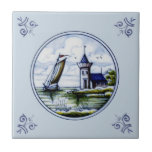"Antique Repro Scenic Delft Blue Multicolor Tile<br><div class=""desc"">Delft tiles date back to the seventeenth century when blue and white Chinese porcelain imports reached the Netherlands. The popularity of these items was a great influence on Dutch tile artisans and Delft became the center of production for these usually (but not always) blue and white tiles.</div>"