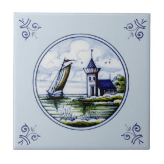 Antique Repro Scenic Delft Blue Multicolor Tile
