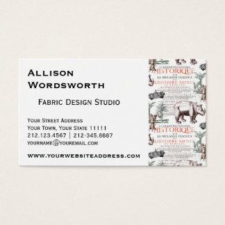 Antique Rhinoceros Rhino Abrecht Durer Style Business Card